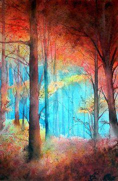 Sous bois de flamme #tree #art