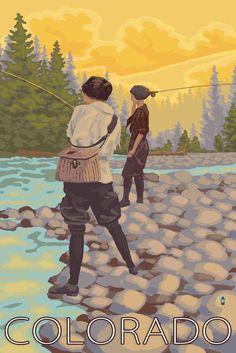 Print (Colorado - Women Fly Fishing - Lantern Press Artwork)