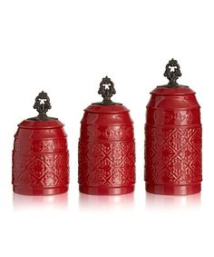 This Red Anila Canister Set is perfect! #zulilyfinds