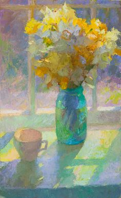 John Ebersberger: Outdoor Still Life Fantasy Paintings, Paintings I Love, Beautiful Paintings, Still Life Flowers, Still Life Oil Painting, Traditional Paintings, Daffodils, Lovers Art, Painting Inspiration