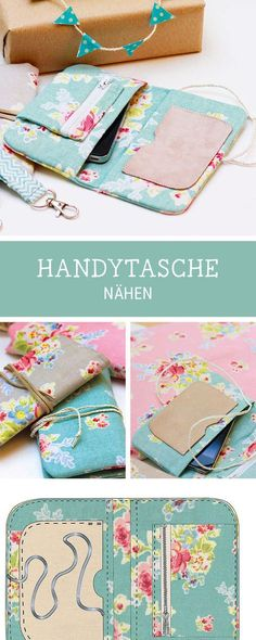 Hand-sewn cellphone case: We will show you how to do it and have the sewing pattern for a cell phone case via DaWanda Fabric Wallet, Diy Wallet, Diy Sewing Projects, Sewing Tutorials, Bag Patterns To Sew, Sewing Patterns, Diy Accessoires, Diy Mode, Mobile Phone Cases