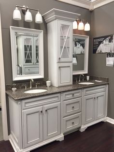 Master bathroom cabinets and mirrors but I would do different light fixtures. Master Bedroom Bathroom, Upstairs Bathrooms, Dream Bathrooms, Bathroom Interior, Small Bathroom, Light Grey Bathrooms, Bathroom Layout, Bathroom Cabinets, Bathroom Fixtures