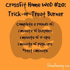 CrossFit Home WOD #20, a great home workout to burn off all of those Halloween candy calories!