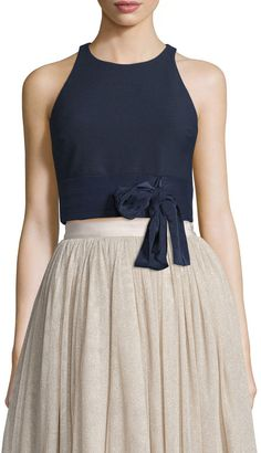 Elizabeth and James Eniko Sleeveless Crop Top, French Navy