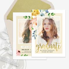 Boho Floral Graduation Announcement Template  Graduation