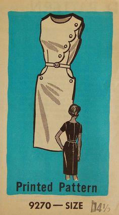 "Vintage 1960s Misses' Women's Mail Order Dress Pattern 9270 Size 14 1/2 (35"" Bust)."