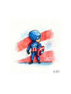 Captain America Watercolor Print for Boys Room by BenByrdArtwork