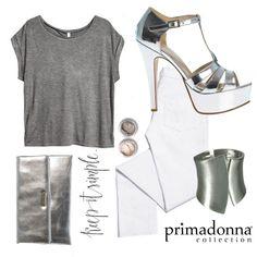 Il look giusto per essere glamour anche in ufficio! Primadonna Collection keeps it simple!     Sandali euro 39,99   Clutch euro 19,99   Bracciale euro 7,99    #outfit  #PrimadonnaCollection