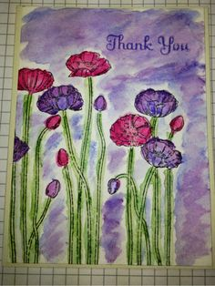 Thank you card using Stampin' Up! Stamp set and water color crayons.
