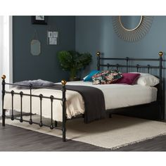 The Atlas is a very traditional style bed that has a beautiful and elegant design which will match many different styles of bedroom decoration. The bed frame is constructed using metal and is strong and durable with a glossy black finish. Single Metal Bed Frame, Black Metal Bed Frame, Teenage Beds, Daybed Room, Ottoman Storage Bed, Brass Bed, Black Bedroom Furniture, Diy Bed Frame, Bedroom Color Schemes