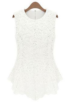 Crochet Lace Tank - White