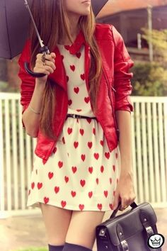 Cute Heart Print Chiffon Dress With Red Leather Jacket