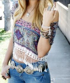 hippie chic. So cute- wish I could pull it off!