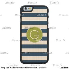 Navy and White Striped Pattern Green Monogram Carved® Maple iPhone 6 Slim Case