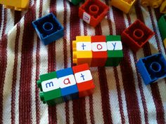 Use their old duplo blocks for word building tools. Put whole words on the bigger blocks for sentence building tools.