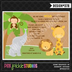 Jungle Personalized Party Invitation-personalized invitation, photo card, photo invitation, digital, party invitation, birthday, baby shower, announcement, printable, print, diy,elephant, monkey, giraffe, lion, safari, zoo, animals