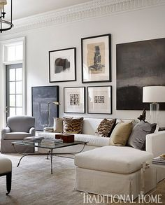 living room inspiration - neutral color palette living room with a stunning gallery wall