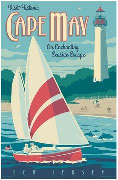 Digital Art - Cape May Poster - Vintage Travel Lighthouse by Jim Zahniser , Canvas Artwork, Canvas Art Prints, Wall Canvas, Wall Art, Cape May, Beach Posters, Vintage Travel Posters, Poster Vintage, Wrapped Canvas