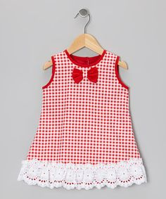 Red & White Gingham Shift Dress - Toddler & Girls by Dreaming Kids #zulily #zulilyfinds
