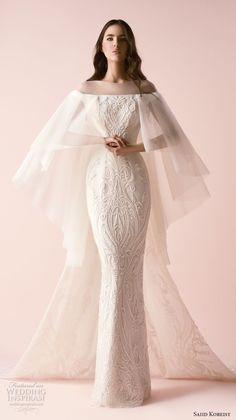 saiid kobeisy 2018 bridal angel sleeves illusion bateau straight across neckline full embellishment elegant sheath wedding dress (3251) mv -- Saiid Kobeisy 2018 Wedding Dresses