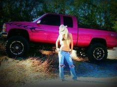 PINK Chevy girl needs a pretty truck ; Jacked Up Trucks, Lifted Chevy, Cool Trucks, Big Trucks, Chevy Trucks, Chevy Silverado, Pickup Trucks, Pink Chevy, Chevy Girl