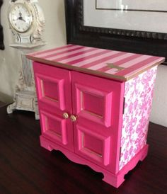 Vintage music box up cycled to Victorias Secret Pink night stand