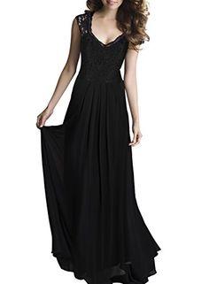 Miusol Women's Casual Deep- V Neck Sleeveless Vintage Maxi Black Dress X-Large