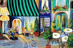 Floral delivery  Bicycle Street scene. Done by me Elaine Cory. It is on a canvas 24 x 36 x 3/4. The sides are painted like the front. It is