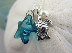 Blue Swarovski Starfish and Sterling Silver Sea Turtle Necklace