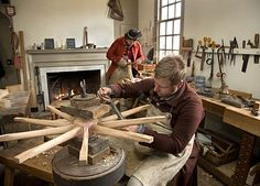 Wheelwrights do their part for the wagons, carriages, and riding chairs of Colonial Williamsburg.