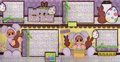 Hoppy Easter 2 Premade Scrapbook Pages Paper Piecing Layout 4 Album Bunny Cherry | eBay