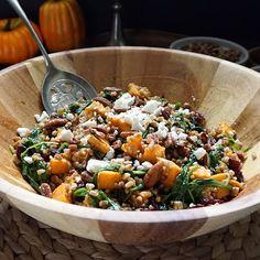 Fall Wheatberry Salad With Wheatberries, Sweet Potatoes, Dried Cranberries, Golden Raisins, Feta Cheese Crumbles, Walnuts, Greens, Salt, Black Pepper, Vinaigrette