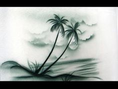 Cake Decorating Airbrush--Part 3--Freehand Palm Trees, Ocean, and Clouds - YouTube