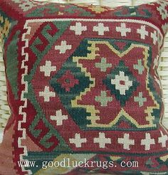 "14"" Wool Kilim Kelim Rug Red Decorative Throw Pillow Case Cushion Cover~New"