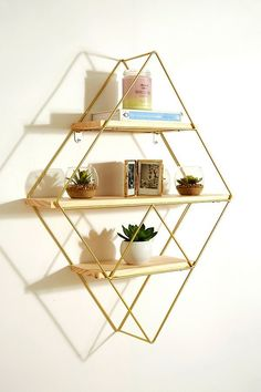 Explore our extensive collection of home accessories at Urban Outfitters. Complete your home with a range of planters, decorative cushions, rugs and more. Wooden Shelves, Wall Shelves, Shelving, Storage Shelves, Wall Hooks, Dresser Bed, Urban Outfitters Home, Geometric Shelves, Diamond Wall