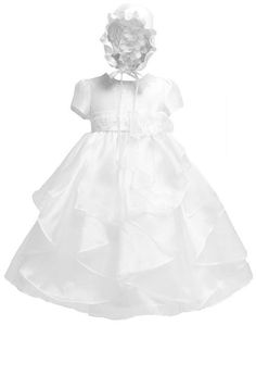 KID Collection Baby-girls White Christening Baptism Dress Size L
