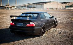 Download wallpapers BMW M3, 4k, matte black, e46, road, german cars, tuning, black m3, BMW