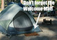 Bring a Welcome Mat to keep Dirt Out of the Tent  and Camping Hacks, Tips and Tricks on Frugal Coupon Living.
