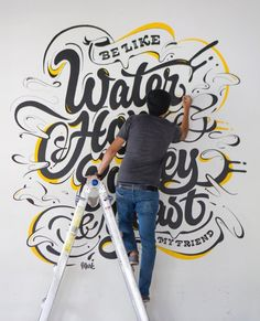 Be like water, hops, barley, yeast. Loving this mural by on Inspirationde Typography Letters, Typography Logo, Typography Design, Types Of Lettering, Hand Lettering, Mural Art, Wall Murals, Graffiti, Office Mural