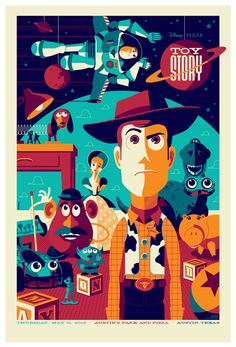 Updated - Mondo Toy Story Poster by Tom Whalen Posters Disney Vintage, Disney Movie Posters, Film Disney, Cartoon Posters, Movie Poster Art, Disney Movies, Disney Pixar, Animated Movie Posters, Poster Series