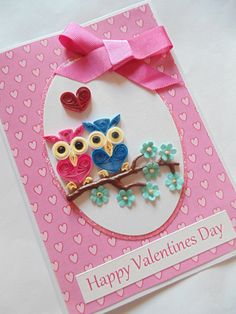 Owls Valentines card, owl cards, Valentines cards, quilled cards, quilling…