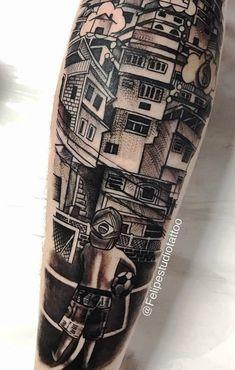 Tattoo slum in male leg
