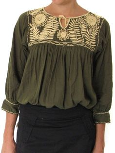 Hand Embroidered Margarita Blouse Hunter Green