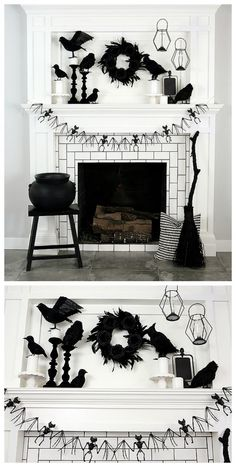Black and White Halloween Mantel : Awesome Black and White Halloween Mantel Bureau Halloween, Halloween Office, Halloween Mantel, Fete Halloween, Cool Halloween Costumes, Holidays Halloween, Halloween Crafts, Happy Halloween, Halloween Makeup