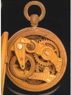 Solid Wood 1900 Pocket Watch - Wood Gears, Hands and Case