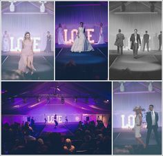 Heaton House Farm - Wedding Fayre - Catwalk - Bridalwear - Menswear - Bridesmaid - Accessories - Bridal Model - Steele's Barn - Purple Lighting - LOVE Letters