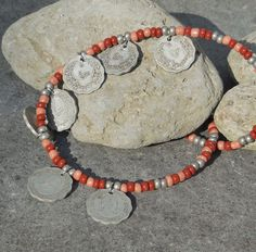 Hippie Necklace, Bohemian Jewelry, Gypsy Jewelry, Tribal Jewelry, Coin Seed Beads Necklace, Salmon Red Boho Necklace, Bohemian Teen Gift