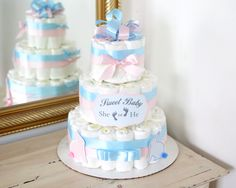 Gender Reveal Diaper Cake / Shower Centerpiece / Baby girl or boy / Elegant / for gift / nappy / tutu tulle / new mom gift / hospital gifts by AngAngBabyUS on Etsy