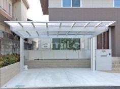 施工例カーポート YKKAP エフルージュEX 横2台用(ワイド ツイン) F型フラット屋根 後柱仕様 House Design, Roofing, House, Home, Townhouse, Carport Designs, Modern Garage, Welding Design, House Exterior