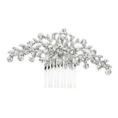 Crystal Wedding or Prom Comb with Shimmering Leaves